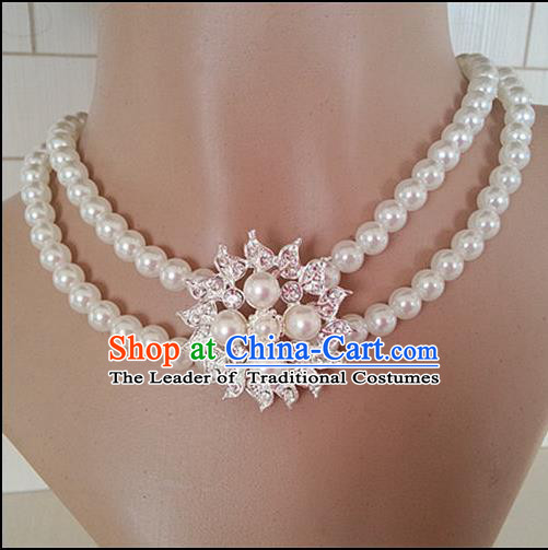 Chinese Wedding Jewelry Accessories, Traditional Bride Nceklace, Princess Wedding Necklet, Imperial Bridal Baroco Style Wedding Lace Pearl Collar