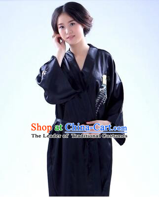 Kimono Japanese Traditional Clothes Stage Show Wafuku Aristolochia ringens Tomesode Black