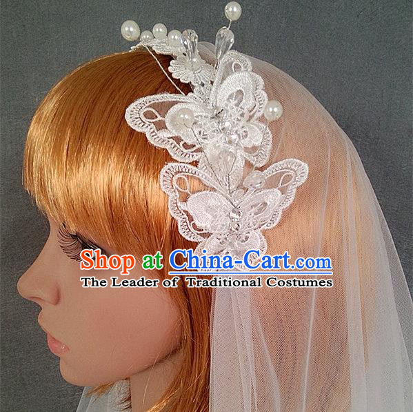 Chinese Wedding Jewelry Accessories, Traditional Bride Headwear, Wedding Tiaras, bridal Wedding Lace Bowknot Veil