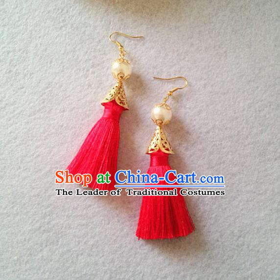 Chinese Wedding Jewelry Accessories, Traditional Xiuhe Suits Wedding Bride Earrings, Ancient Chinese Tassel Earrings