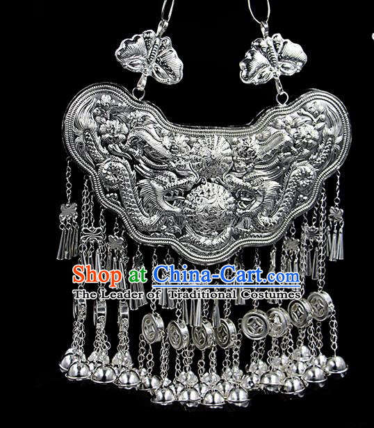 Traditional Chinese Miao Ethnic Minority Necklace Miao Ethnic Silver Jewelry Accessories Longevity Lock