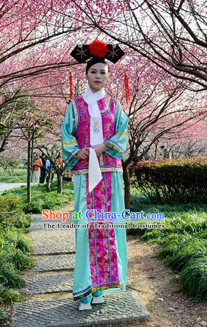 Princess Dress for Qing Dynasty Chinese Traditional Costumes Ancient Clothes Costumes Empresses in the palace Qing Chuang Stage Show Purple