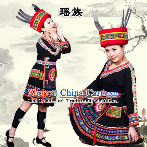 Traditional Chinese Yao Nationality Dancing Costume, Yaozu Female Folk Dance Ethnic Pleated Skirt, Chinese Yao Minority Nationality Embroidery Costume for Women