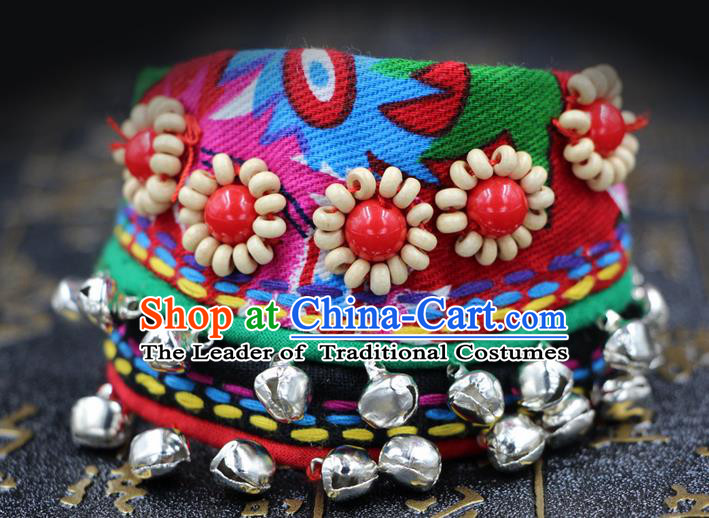Traditional Chinese Miao Nationality Jewelry Accessories Bracelet, Hmong Embroidery Bells Bracelet for Women