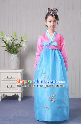 Korean Traditional Costumes Girl Dress Stage Show Dancing Clothes Pink Top Blue Skirt