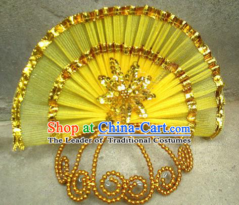 Traditional Chinese Yangge Fan Dancing Headwear, Folk Dance Yangko Hair Accessories For Women