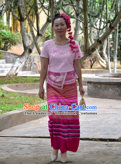 Traditional Asian Thai Costume Skirt, Thai Waitress High Grade Silk Skirt for Women