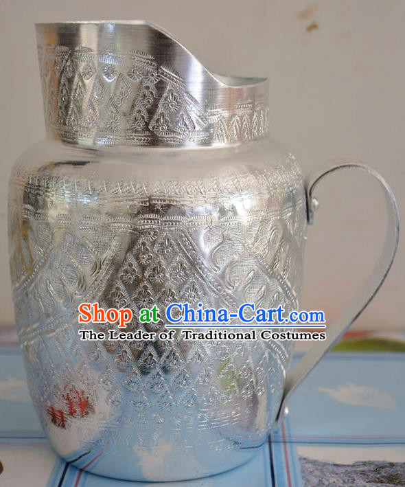 Traditional Asian Thai Palace decoration Ornaments Handicrafts, Thai Silver Kettle Hip Flask Jug