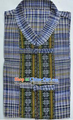 Traditional Asian Thai Palace Men Costume T-Skirt, Thai Linen Dress Shirt for Men
