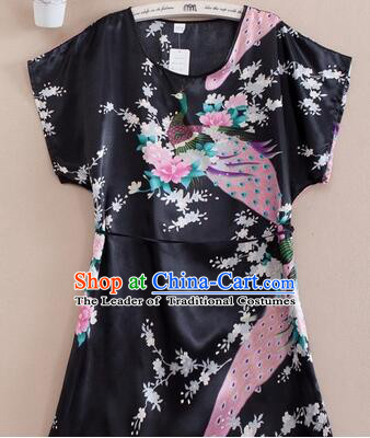 Night Suit for Women Night Gown Bedgown Leisure Wear Home Clothes Chinese  Traditional Style Peacock Black 205ca96b1