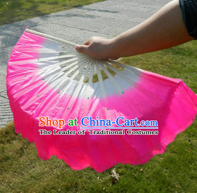 Traditional Pure Silk Color Change Chinese Dance Folk Dance Hand Fans Yangge Dance Hand Fan Oriental Fan