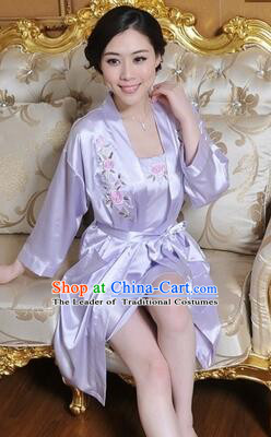 Embroidery Night Gown Women Sexy Camisole Skirt Two Pieces Night Suit Nighty Bedgown Purple