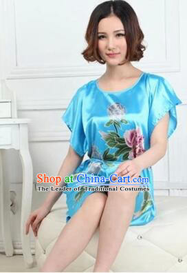 Night Gown Women Sexy Skirt Night Suit Nighty Bedgown Peony Light Blue
