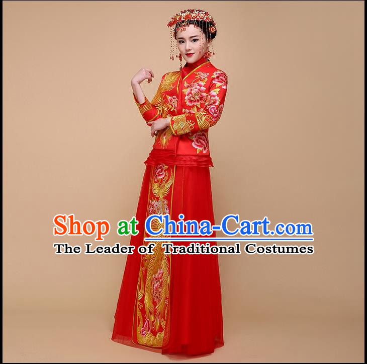 Ancient Chinese Costume Xiuhe Suits, Chinese Style Wedding Dress, Red Ancient Women Longfeng Dragon And Phoenix Flown, Bride Toast Cheongsam