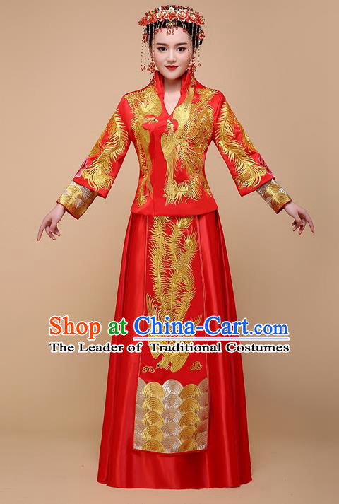 Ancient Chinese Costume Xiuhe Suits Chinese Style Wedding Dress Red Ancient Women Long Dragon And Phoenix Flown Bride Toast Cheongsam
