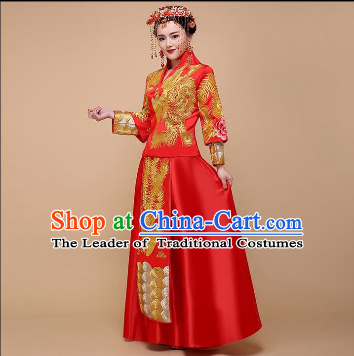 Ancient Chinese Costume, Xiuhe Suits Chinese Style Wedding Dress, Red Ancient Women Long Dragon And Phoenix Flown, Bride Toast Cheongsam