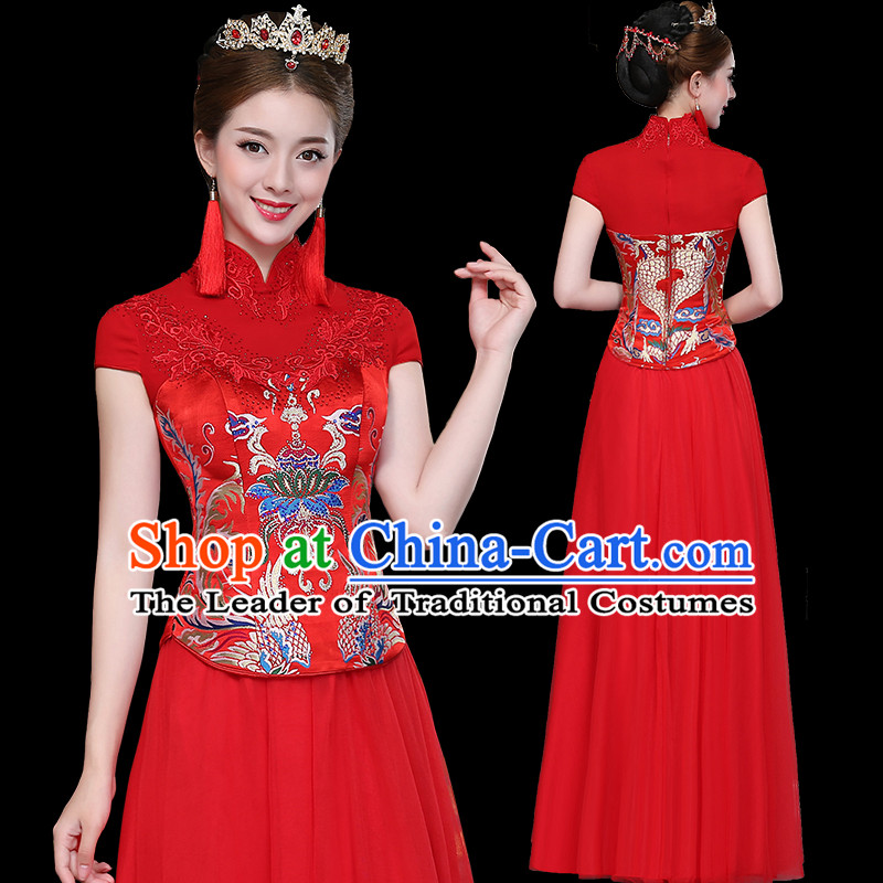 Ancient Chinese Costume, Xiuhe Suits, Chinese Style Wedding Dress Red Restoring Ancient Women Flown, Bride Toast Cheongsam