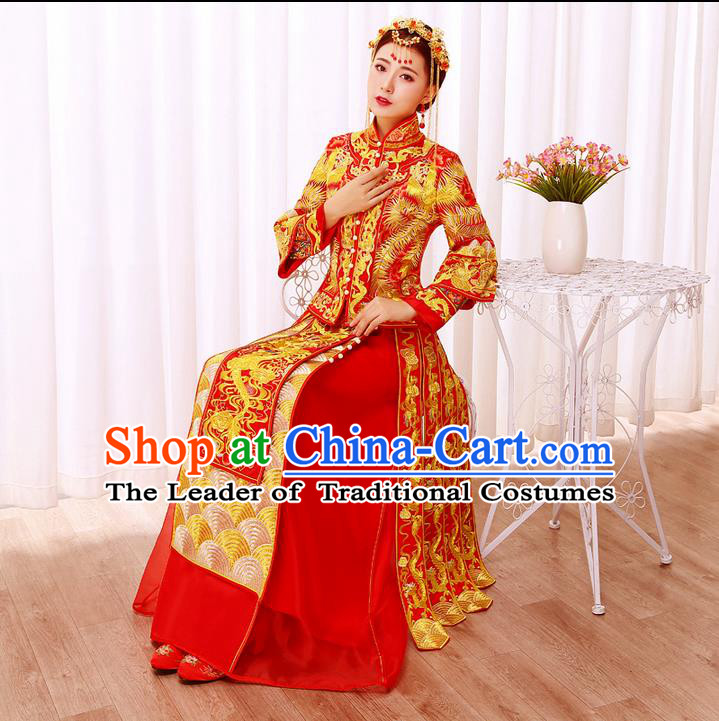 Ancient Chinese Costume, Xiuhe Suits, Traditional Wedding Dress, Red Women Longfeng Dragon And Phoenix Flown, Bride Toast Cheongsam