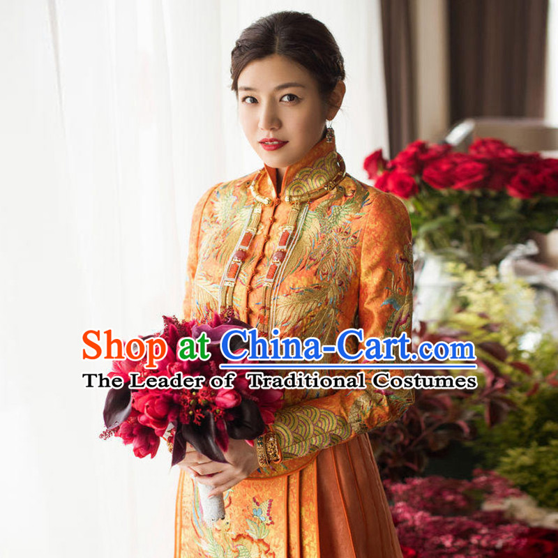 Ancient Chinese Costume, Xiuhe Suits Traditional Wedding Dress, Red Ancient Women Longfeng Dragon And Phoenix Flown, Bride Toast Cheongsam