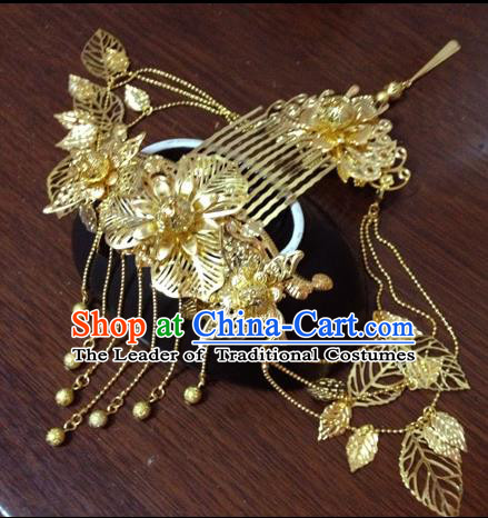 Chinese Ancient Style Hair Jewelry Accessories, Hairpins, Hanfu Xiuhe Suits Wedding Bride Headwear, Headdress, Imperial Empress Handmade Phoenix Hair Fascinators Set for Women
