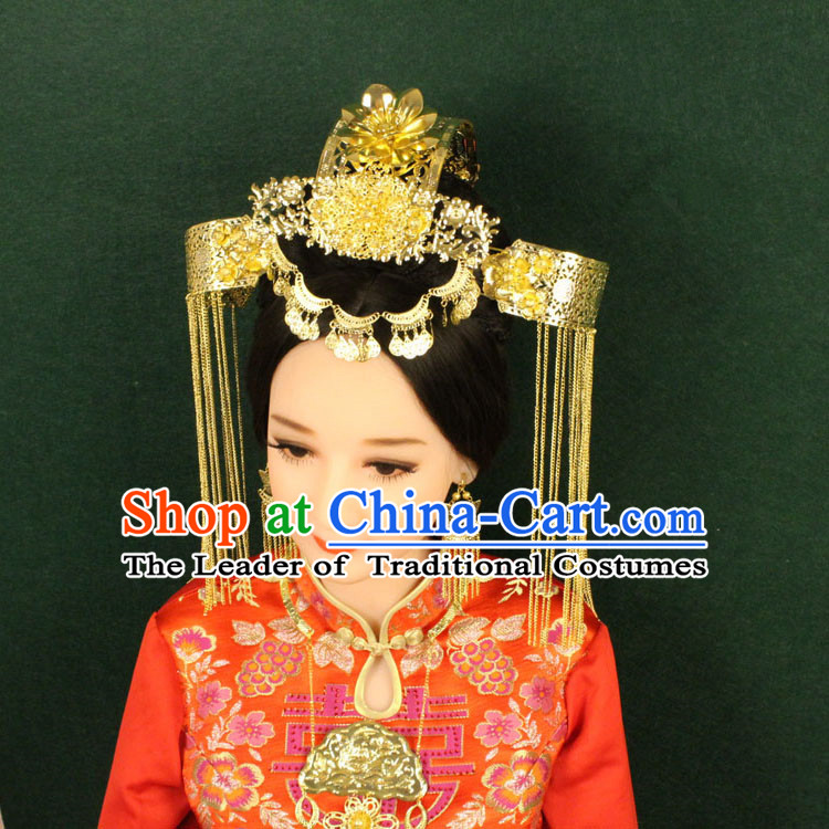 Chinese Ancient Style Hair Jewelry Accessories, Hairpins, Tang Dynasty Xiuhe Suits Wedding Bride Headwear, Headdress, Imperial Empress Princess Handmade Phoenix Hair Fascinators for Women
