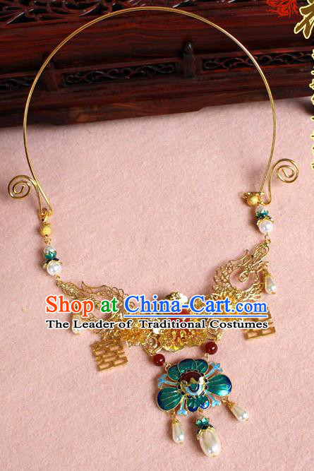 Chinese Imperial Queen Necklace, Empress Necklaces, Wedding Cloisonn Accessories For Women