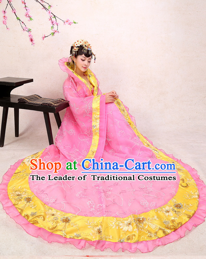 Ancient Chinese Palace Empress Costumes Complete Set, Hanfu, Tang Dynasty Ancient Palace Princess Wedding Dress