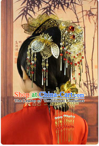 Chinese Ancient Style Hair Jewelry Accessories, Hairpins, Tang Dynasty Xiuhe Suit Wedding Bride Phoenix Coronet, Hair Accessories for Women