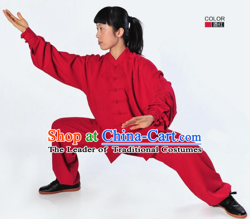 Red Top Kung Fu Flax Costume Jacket Uniform Martial Arts Clothes Shaolin Uniform Kungfu Uniforms Supplies for Men Women Adults Kids