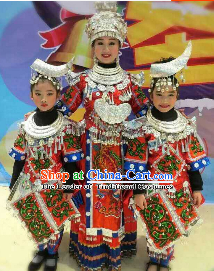 Traditional Chinese Miao Ethnic Clothing and Silver Hat Complete Set for Kids Children