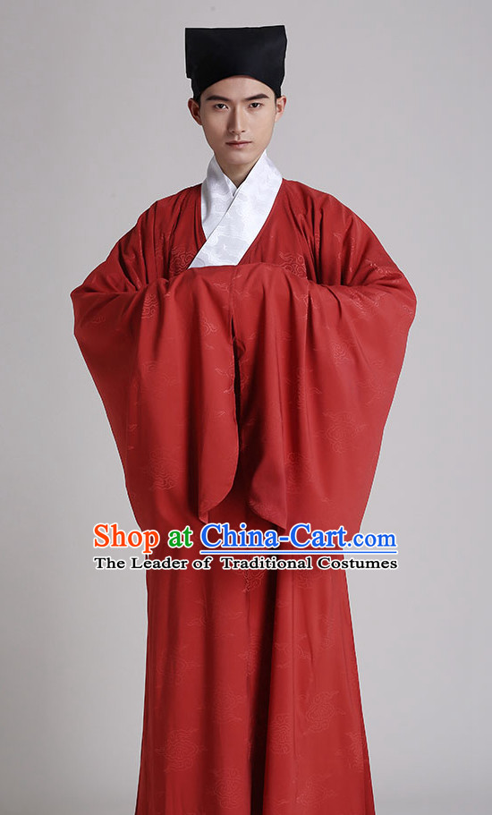 Chinese National Costumes Kimono Dress Clothing and Hat Complete Set for Men