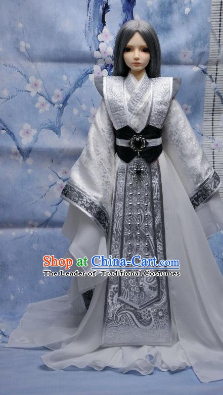 Ancient Chinese Style Dresses Prince Clothing Clothes Han Chinese Costume Hanfu and Hair Jewelry Complete Set for Men Adults Children