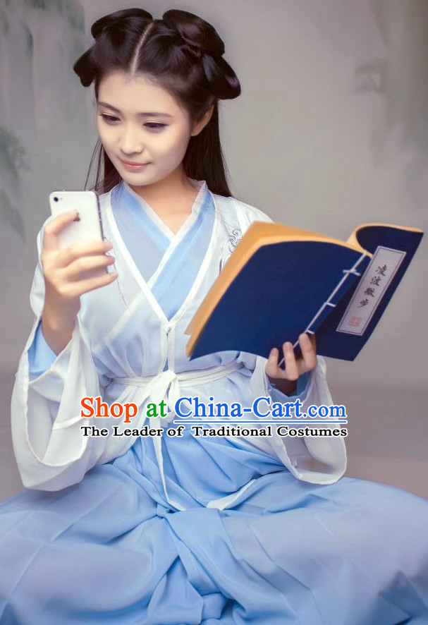 Ancient Chinese Style Dresses Taoist Nun Clothing Clothes Han Chinese Costume Hanfu and Hair Jewelry Complete Set for Women Adults Children