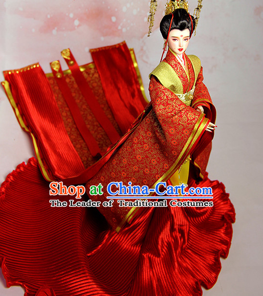 Ancient Chinese Princess Empress Queen Hanfu Costumes and Hair Accessories Complete Set for Women Girls Adults Kids