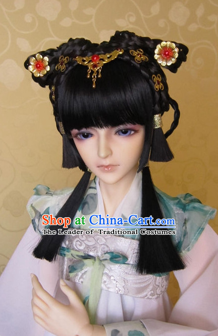 Ancient Chinese Female Black Wigs and Hair Accessories Set