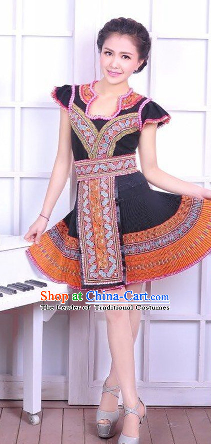 Chinese Traditional Miao Ethnic Clothing Complete Set for Women