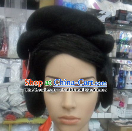 Ancient Chinese Style Princess Empress Black Hair Wigs for Women Girls Adults Children