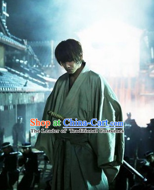 Traditional Japanese Ancient Swordsman Swordmen Costumes Complete Set for Men