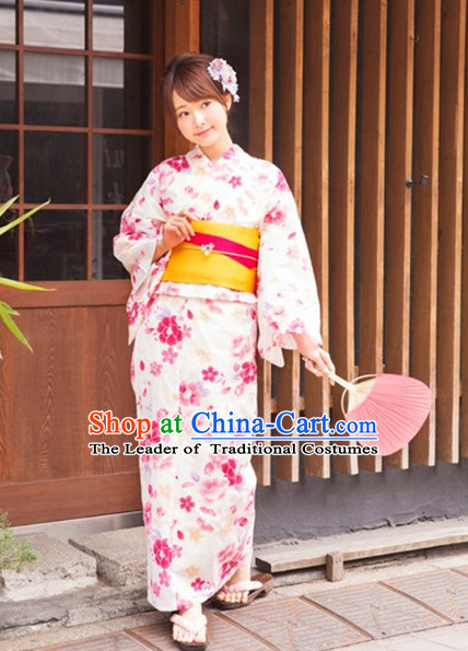 Japanese Traditional Kimono Garment Complete Set for Women Girls Adults