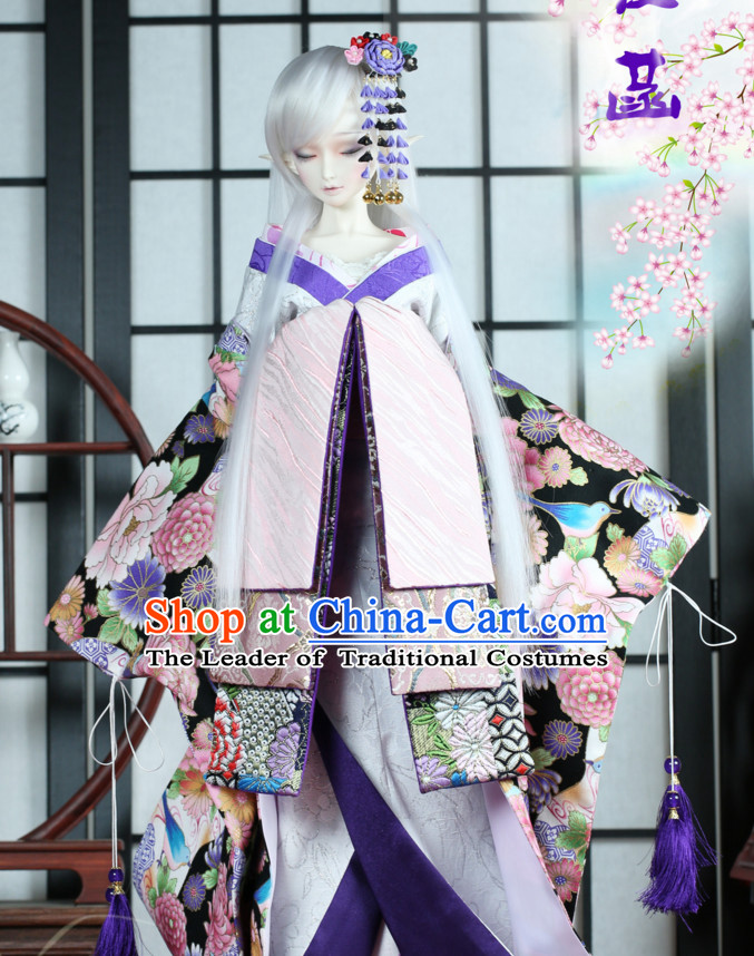 Japanese Traditional Kimono Clothing Complete Set for Women Girls Adults