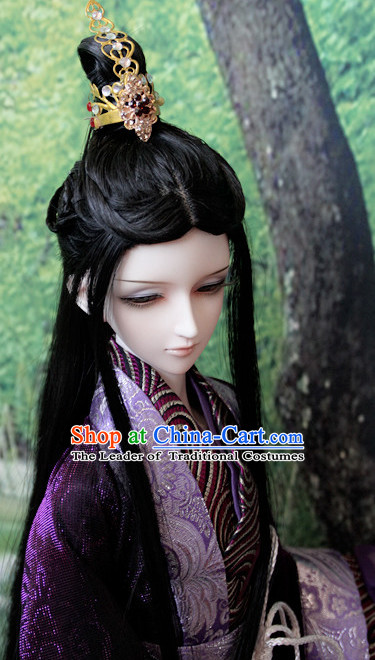 Ancient Chinese Style Prince Emperor Long Black Wigs and Coronet for Men Boys Adults Kids