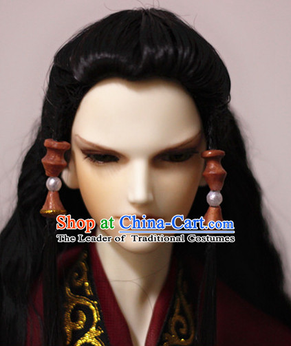 Ancient Chinese Style Prince Emperor Long Black Wigs and Accessories for Men Boys Adults Kids