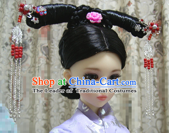 Ancient Chinese Style Princess Empress Long Black Wigs for Women Girls Adults Children