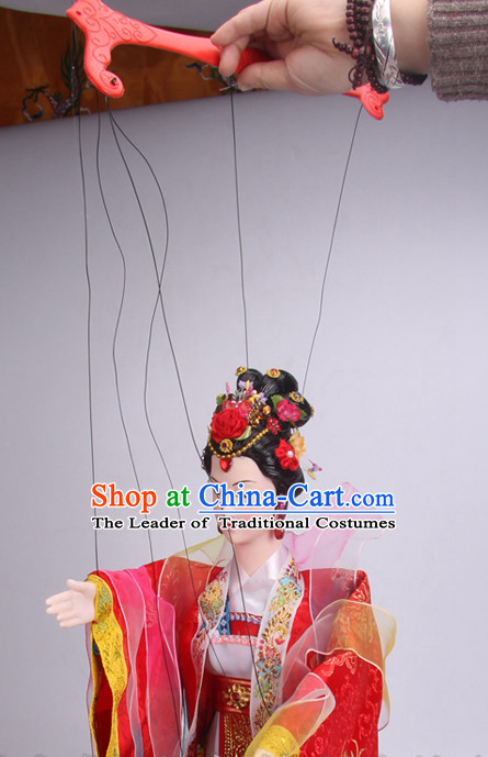 Top Traditional Chinese Ancient Handmade Yang Guifei Tang Empress Hand Marionette Puppet Hand Puppets