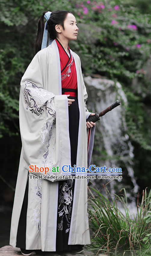 Ancient Chinese Han Dynasty Prince Hanfu Garment Outfit Complete Set for Men