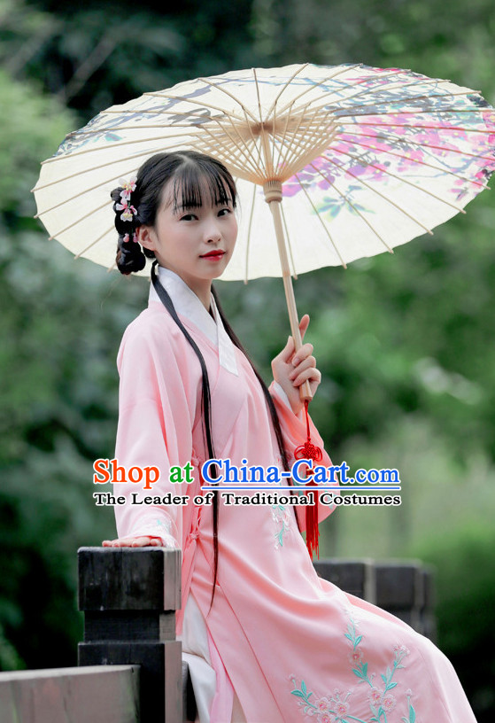 Ancient Chinese Beauty Hanfu Garment Clothing and Hair Accessories Complete Set