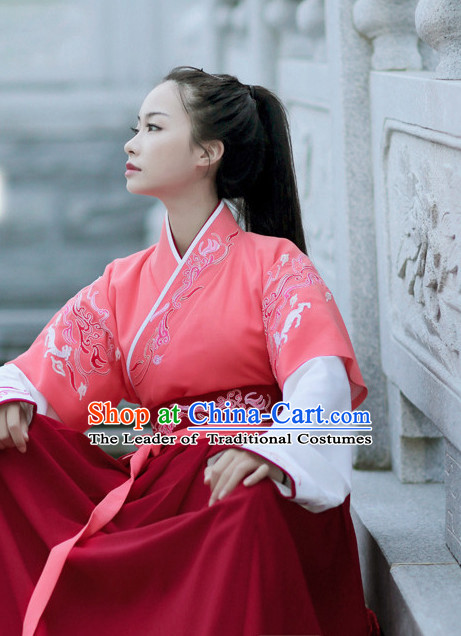 Ancient Chinese Han Dynasty Female Archer Hanfu Garment Outfits Complete Set