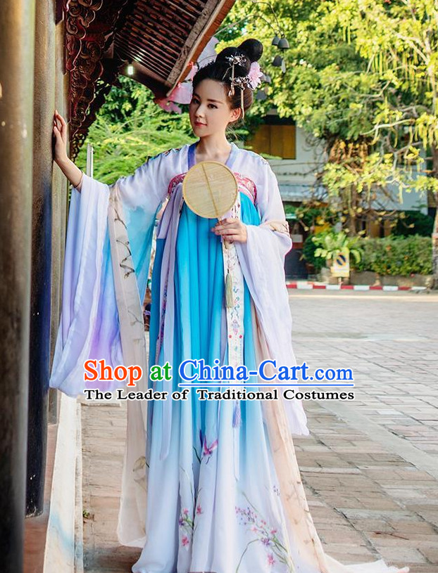 Color Transition Ancient Chinese Tang Dynasty Princess Queen Empress Clothing and Headpieces Complete Set for Women or Girls