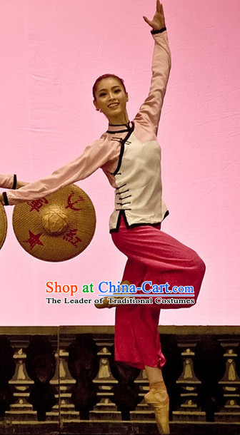 Professional Chinese Red Army Dance Costumes and Bamboo Hat for Women Adults Kids