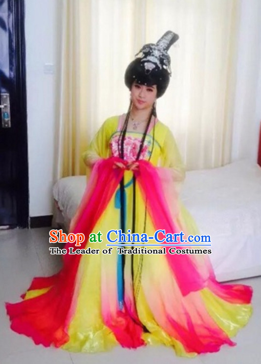 Ancient Chinese Empress Dresswear and Hair Jewelry Complete Set for Women Girls Adults KIds